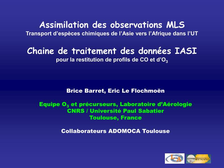 Assimilation des observations MLS