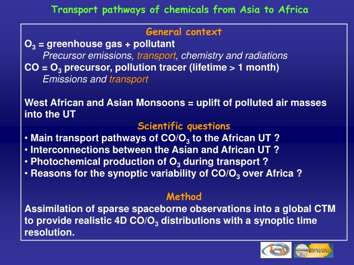 Transport pathways of chemicals from Asia to Africa