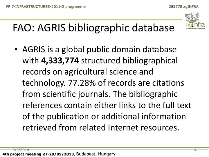 FAO: AGRIS bibliographic database