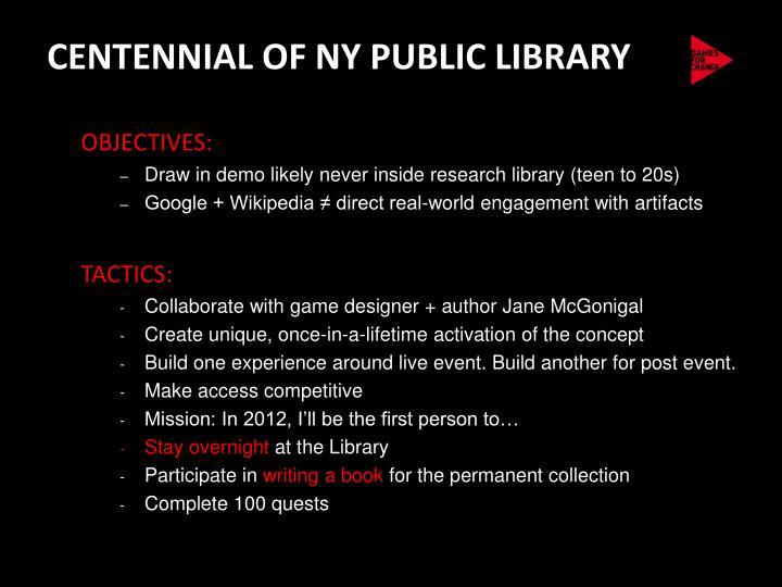 CENTENNIAL OF NY PUBLIC LIBRARY