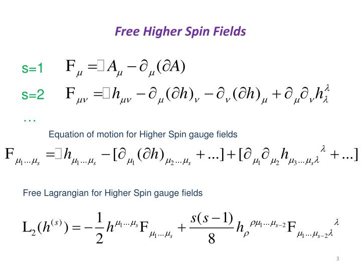 Free Higher Spin Fields