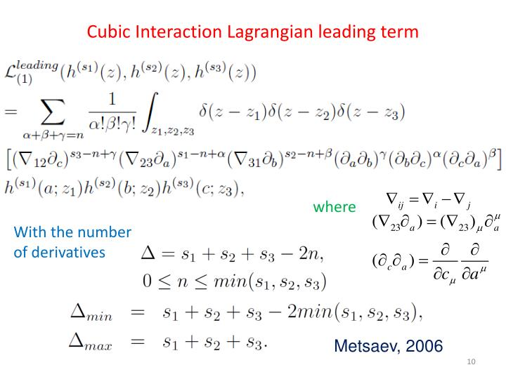 Cubic Interaction Lagrangian leading term