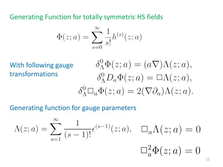 Generating Function for totally symmetric HS fields