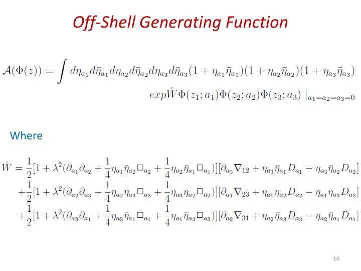 Off-Shell Generating Function