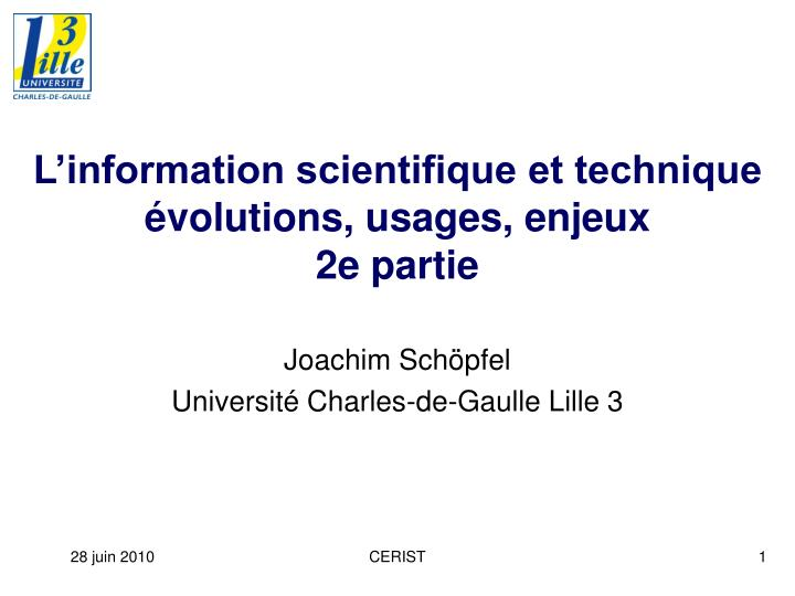 L information scientifique et technique volutions usages enjeux 2e partie