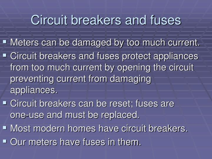 Circuit breakers and fuses