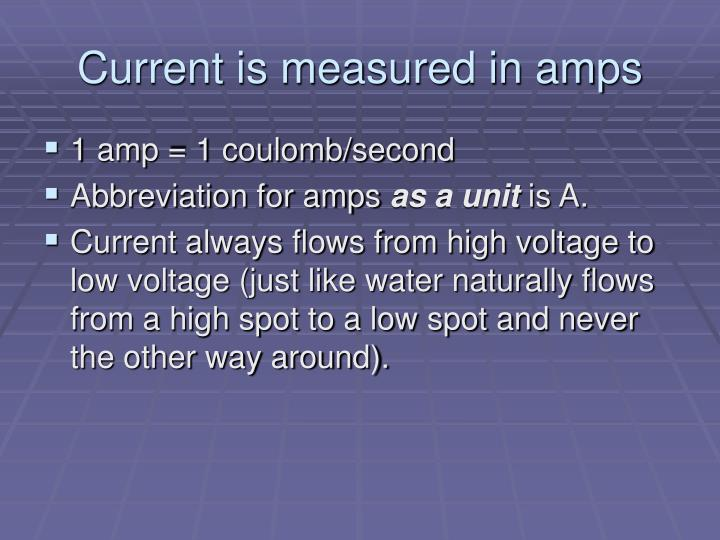 Current is measured in amps