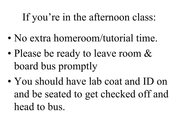 If you're in the afternoon class: