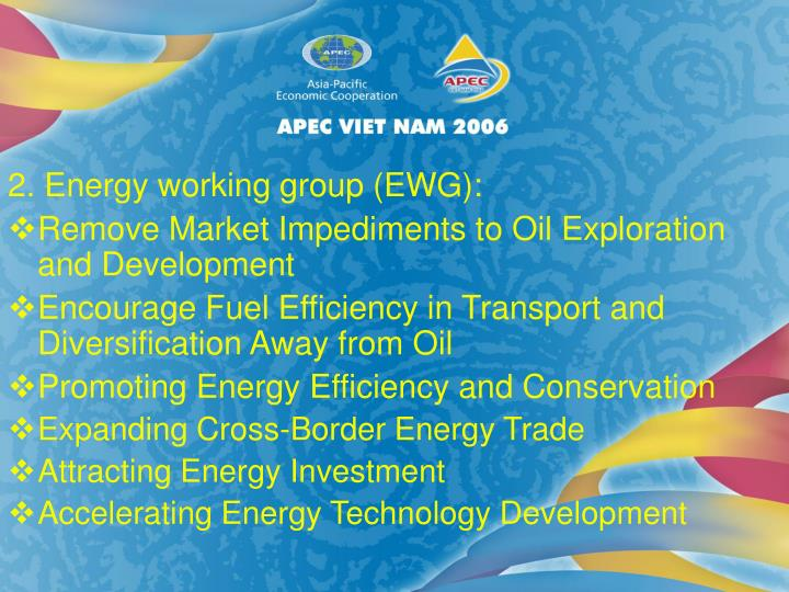 2. Energy working group (EWG):