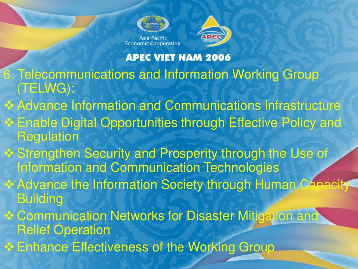 6. Telecommunications and Information Working Group (TELWG):