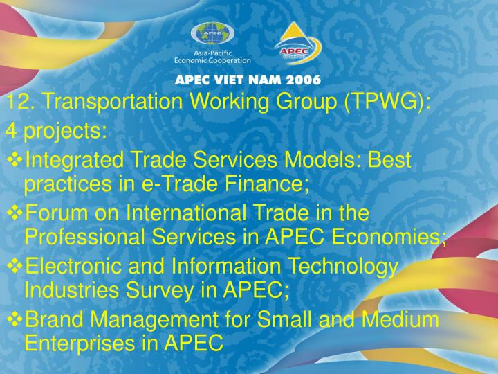 12. Transportation Working Group (TPWG):
