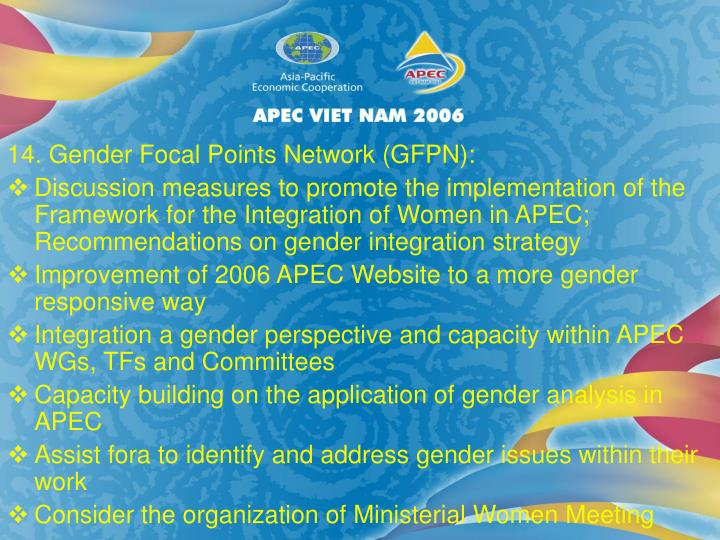 14. Gender Focal Points Network (GFPN):