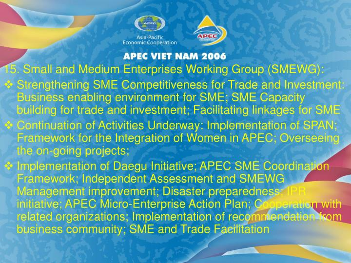 15. Small and Medium Enterprises Working Group (SMEWG):