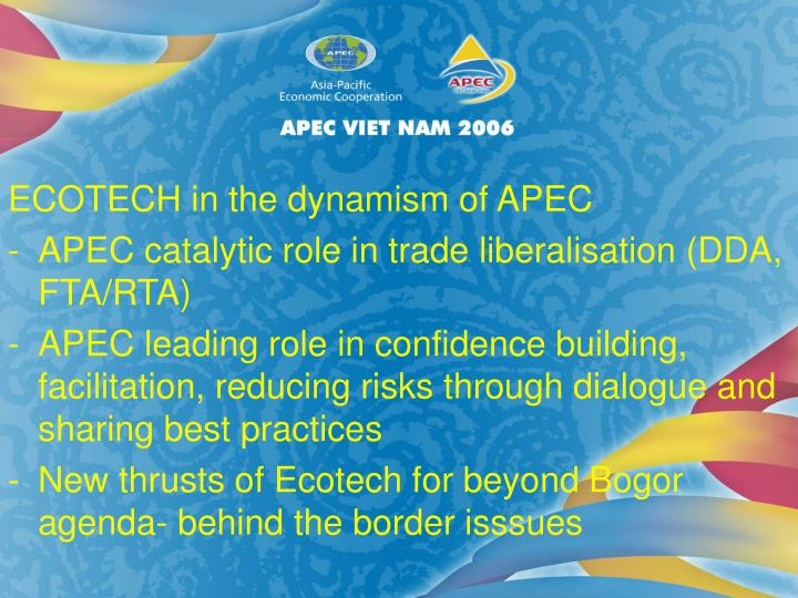 ECOTECH in the dynamism of APEC