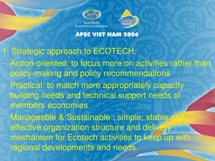 1. Strategic approach to ECOTECH: