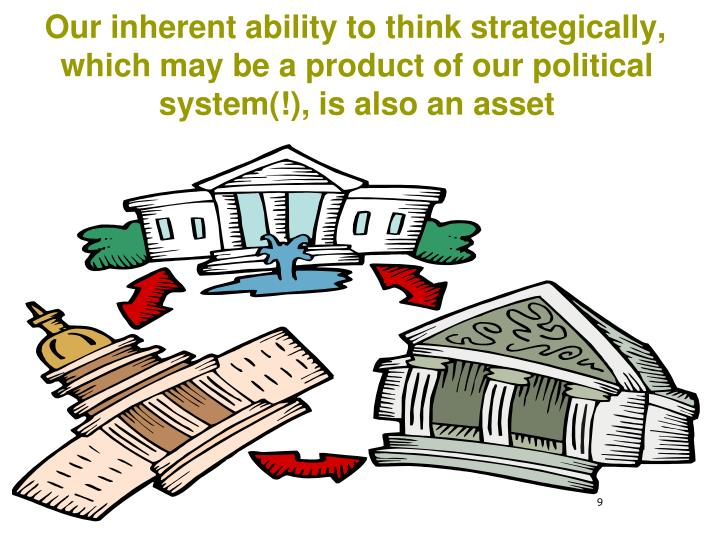 Our inherent ability to think strategically, which may be a product of our political system(!), is also an asset