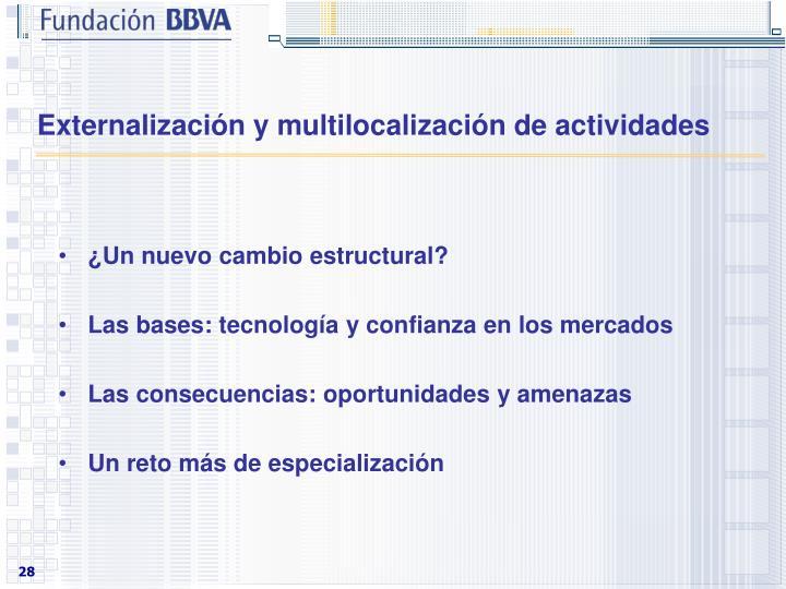 Externalización y multilocalización de actividades