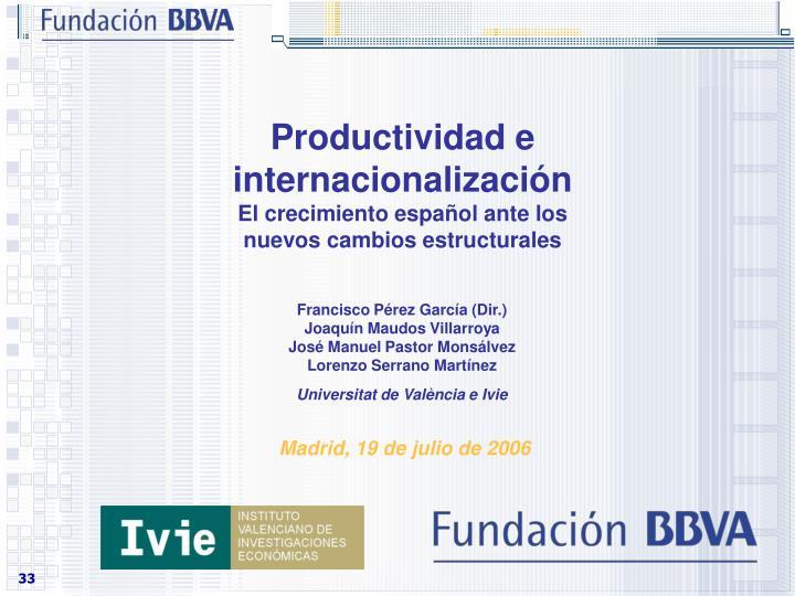 Productividad e internacionalización