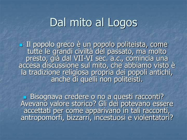 Dal mito al Logos