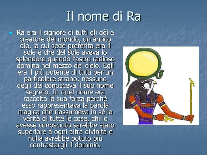 Il nome di Ra