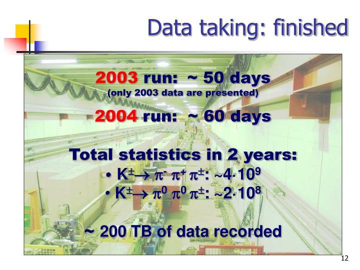 Data taking: finished