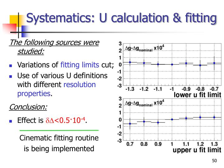 Systematics: U calculation & fitting