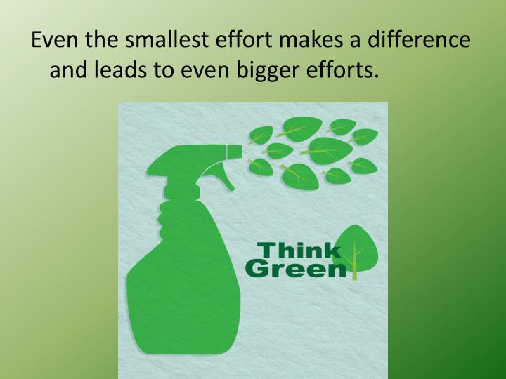 Even the smallest effort makes a difference and leads to even bigger efforts.