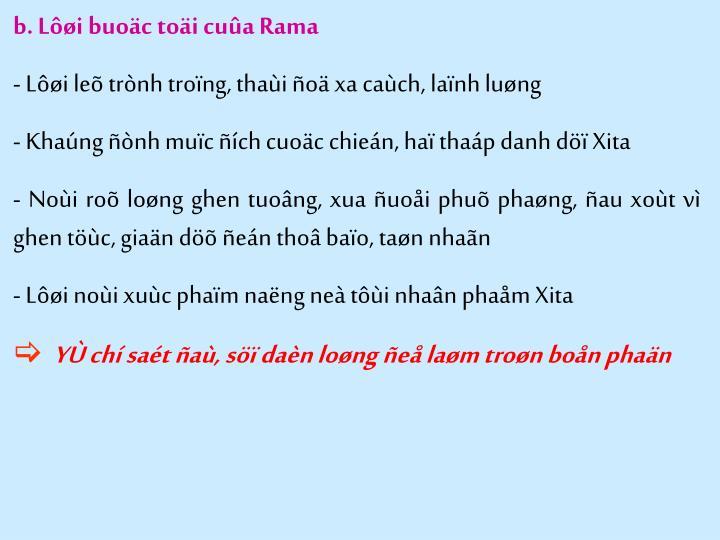 b. Lôøi buoäc toäi cuûa Rama
