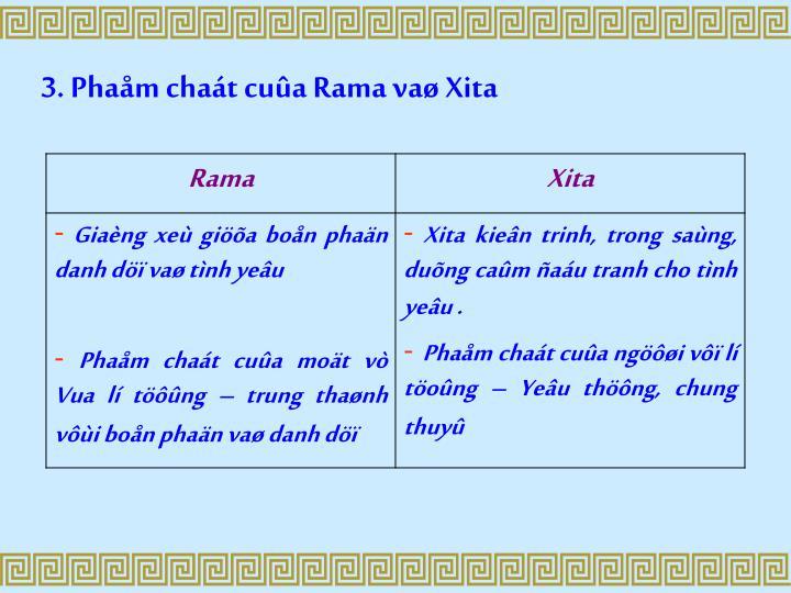 3. Phaåm chaát cuûa Rama vaø Xita