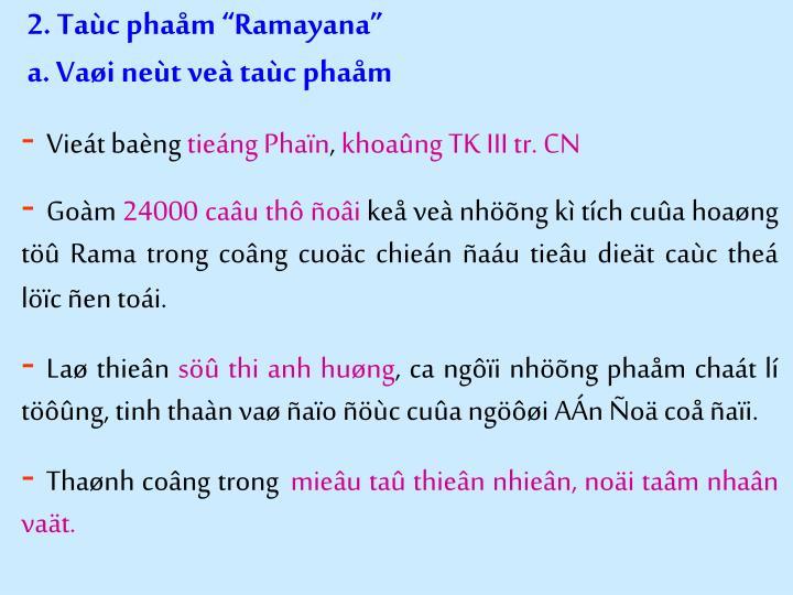 "2. Taùc phaåm ""Ramayana"""