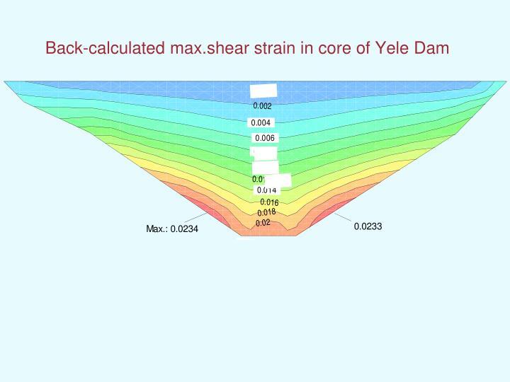 Back-calculated max.shear strain in core of Yele Dam
