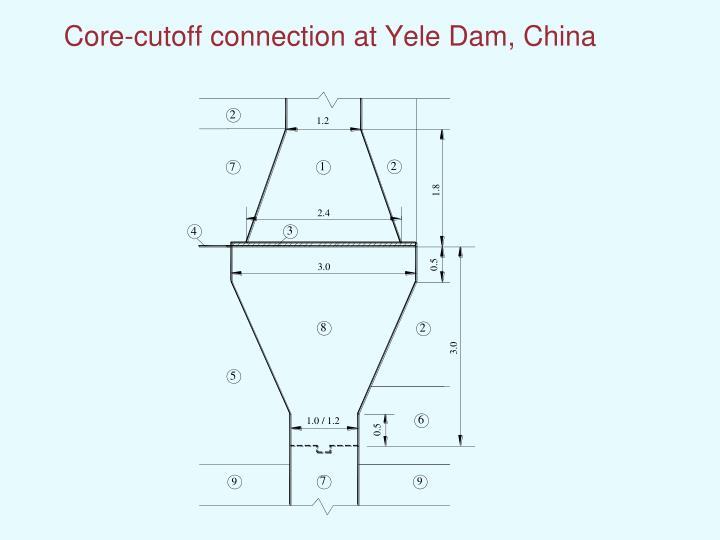 Core-cutoff connection at Yele Dam, China