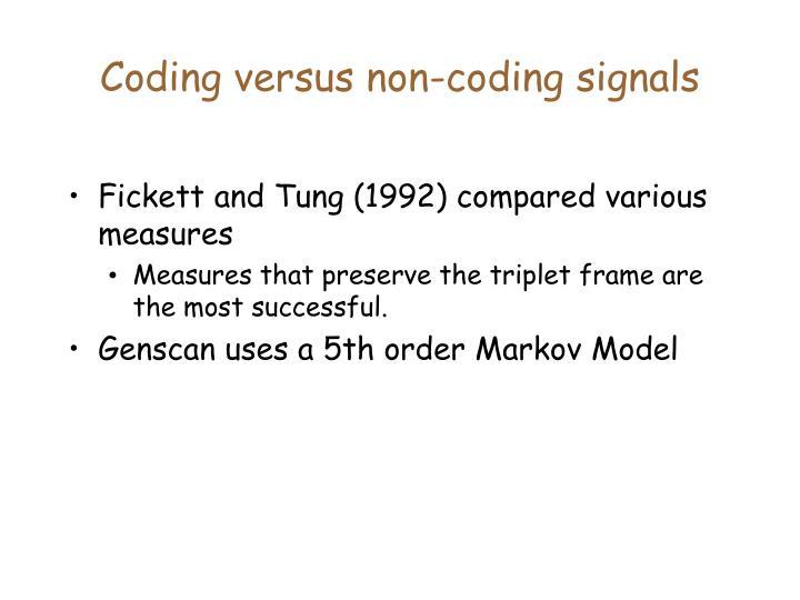 Coding versus non-coding signals