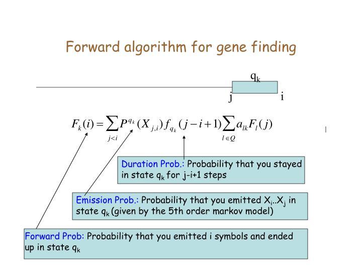 Forward algorithm for gene finding
