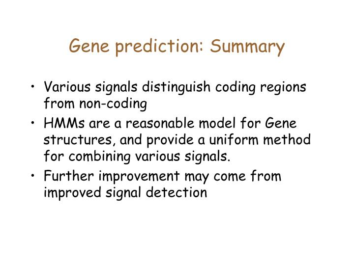 Gene prediction: Summary