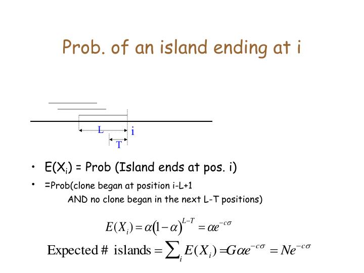 Prob. of an island ending at i