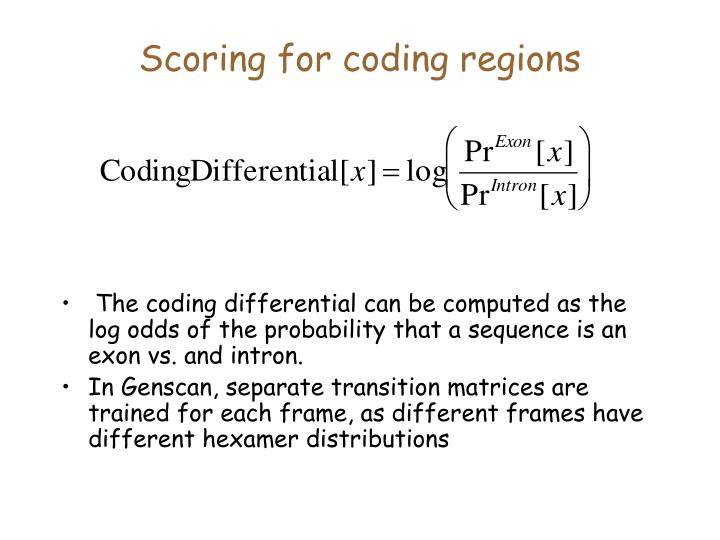 Scoring for coding regions