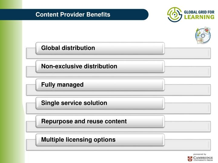Content Provider Benefits