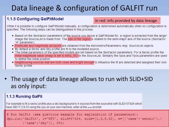 Data lineage & configuration of GALFIT run