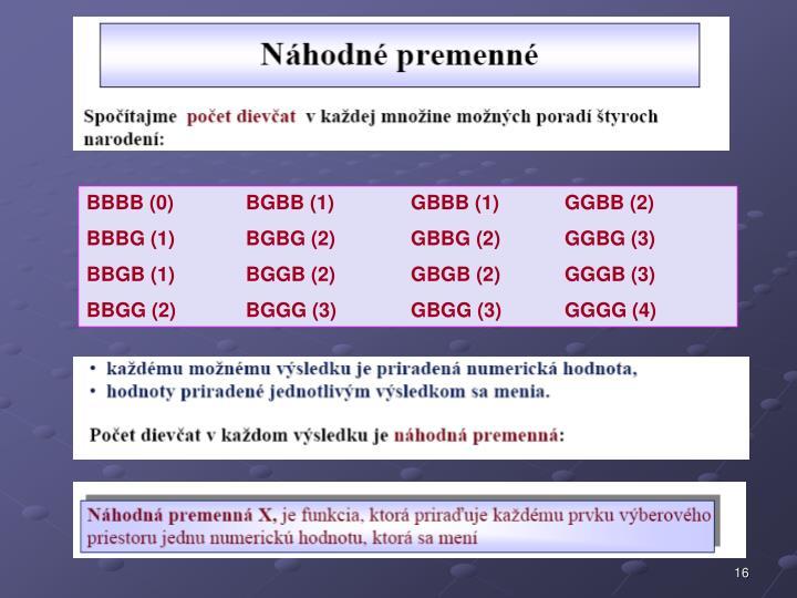 BBBB (0)BGBB (1) GBBB (1)GGBB (2)