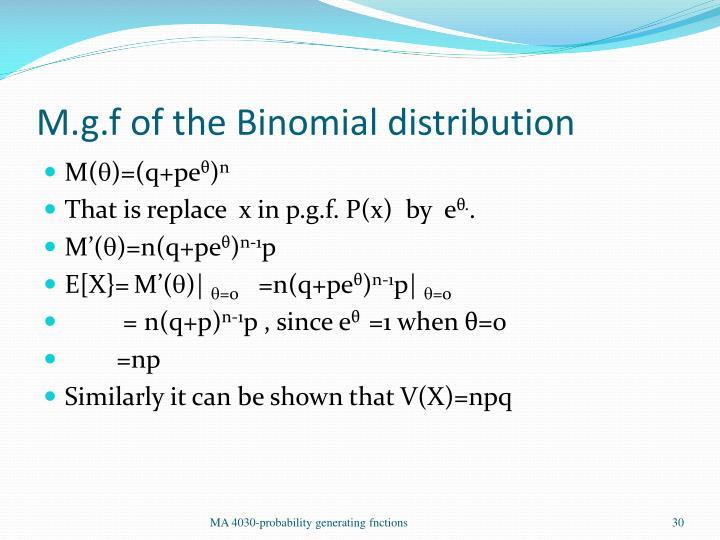 M.g.f of the Binomial distribution