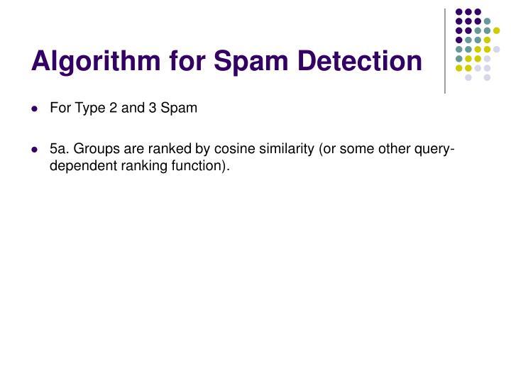 Algorithm for Spam Detection