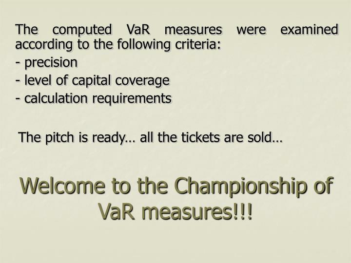 Welcome to the Championship of VaR measures!!!