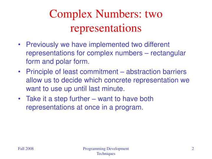 Complex numbers two representations