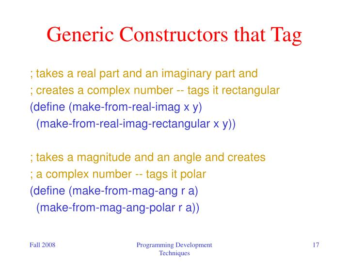 Generic Constructors that Tag