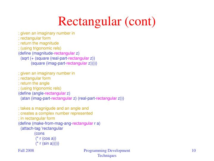 Rectangular (cont)