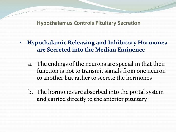 Hypothalamus Controls Pituitary Secretion