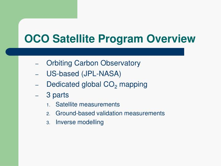 OCO Satellite Program Overview