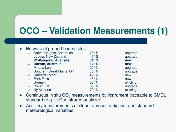 OCO – Validation Measurements (1)
