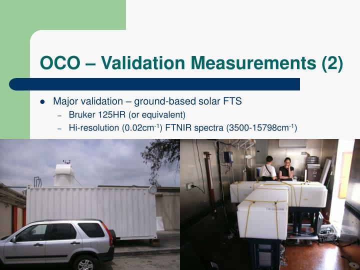 OCO – Validation Measurements (2)